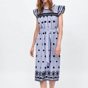 Zara Striped dress with embroidery XS